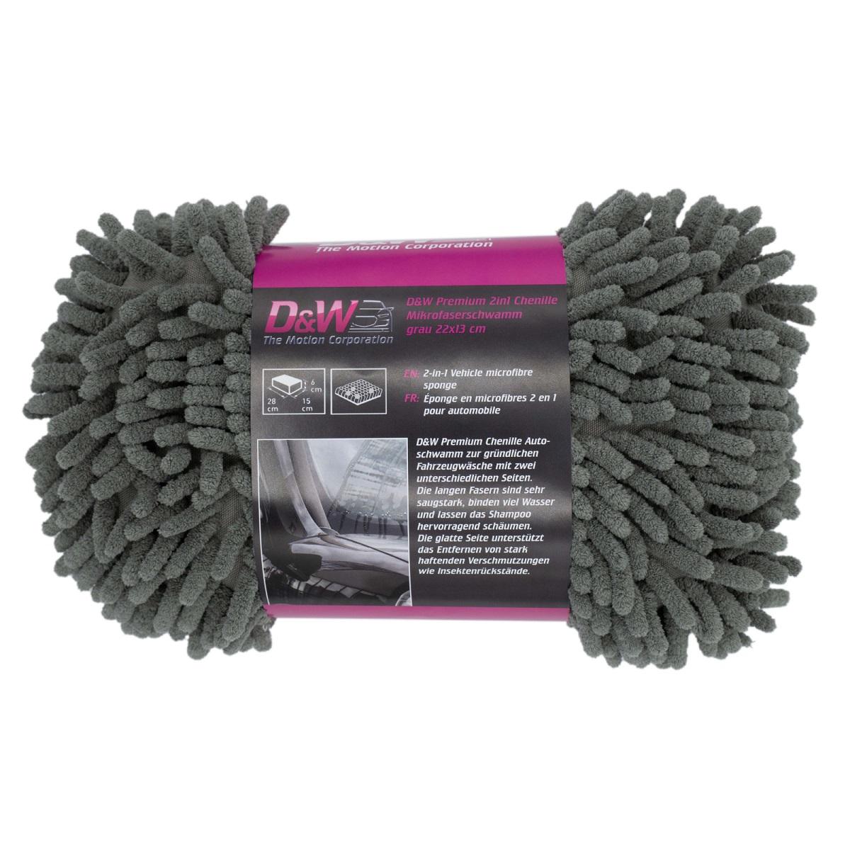 D&W Premium 2in1 Chenille Mikrofaserschwamm grau 22x13cm