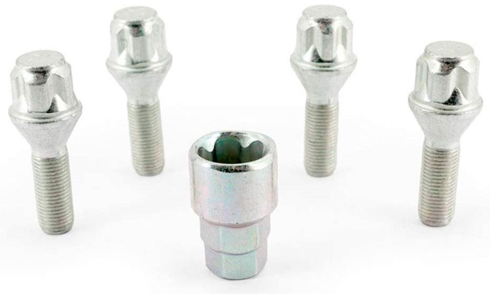 H&R Felgenschloss-Set Kegelbundschrauben 60° M12x1,25x30 SW17+19 silber