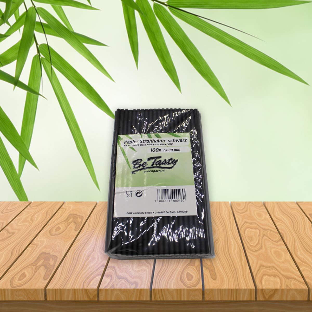 Be Tasty Papiertrinkhalme  schwarz 6x210mm 100 Stück