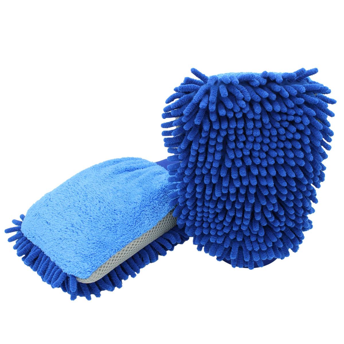 D&W Premium 3in1 Chenille Waschhandschuh blau/grau 22x17cm