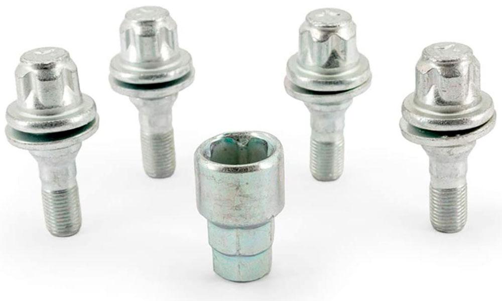 H&R Felgenschloss-Set Flachbundschrauben M12x1,25x36 SW17+19 silber