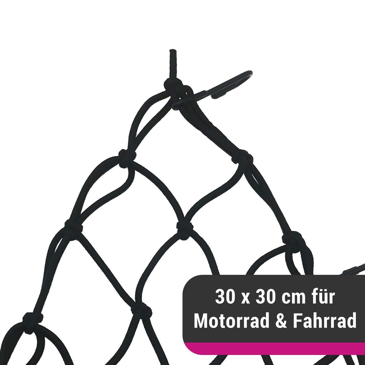 D&W elastisches Gepäcknetz für Motorrad oder Fahrrad 30 x 30 cm