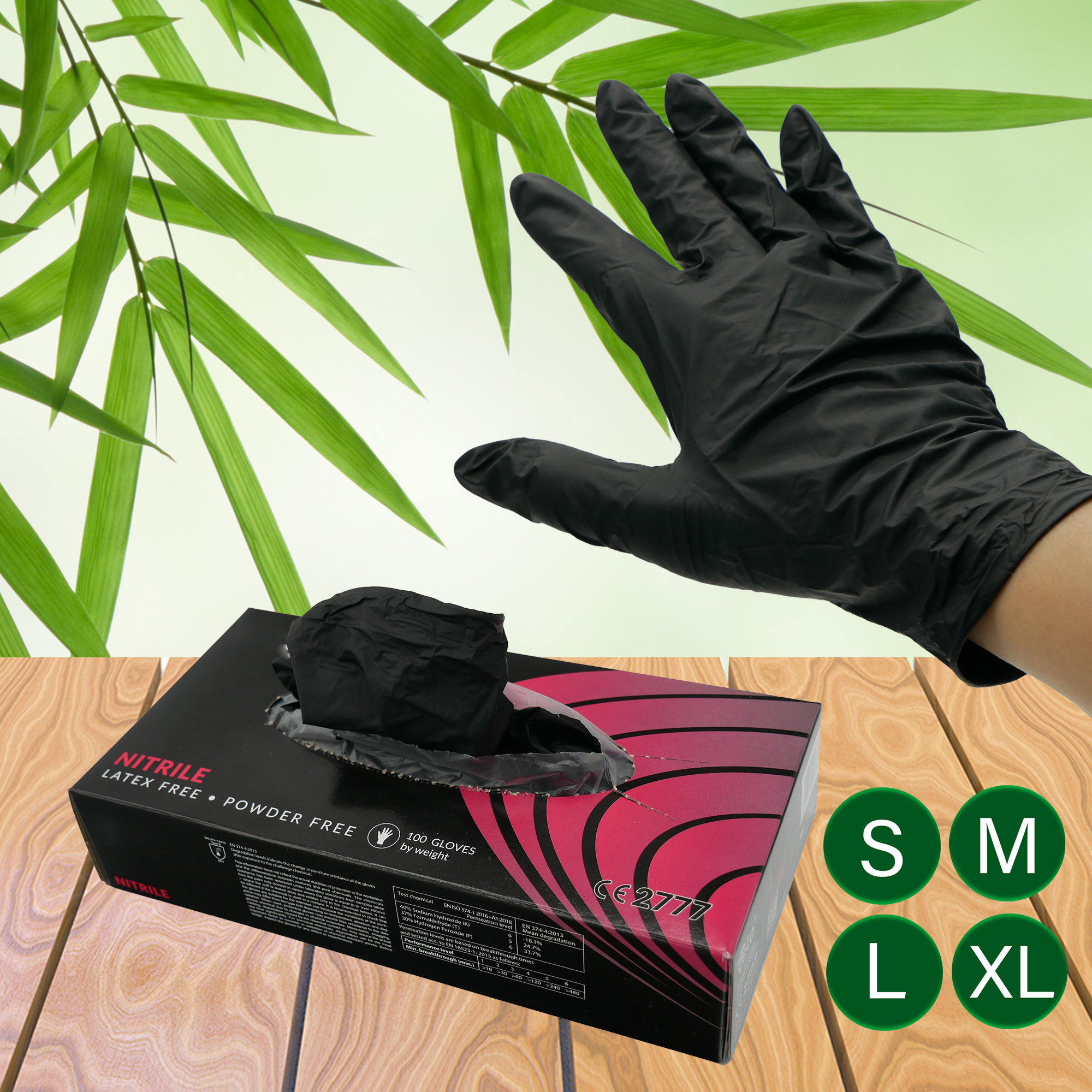 Be Tasty Nitril Einmalhandschuhe schwarz 100 Stück speziell für die Gastronomie