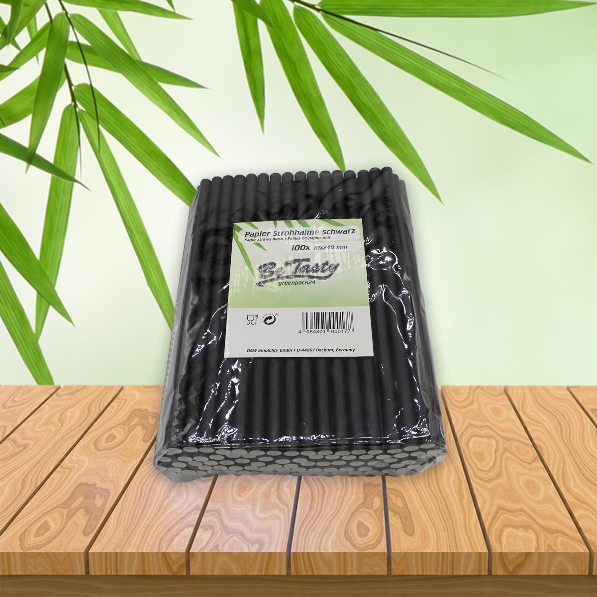 Be Tasty Papiertrinkhalme Schwarz  10x240mm 100 Stück