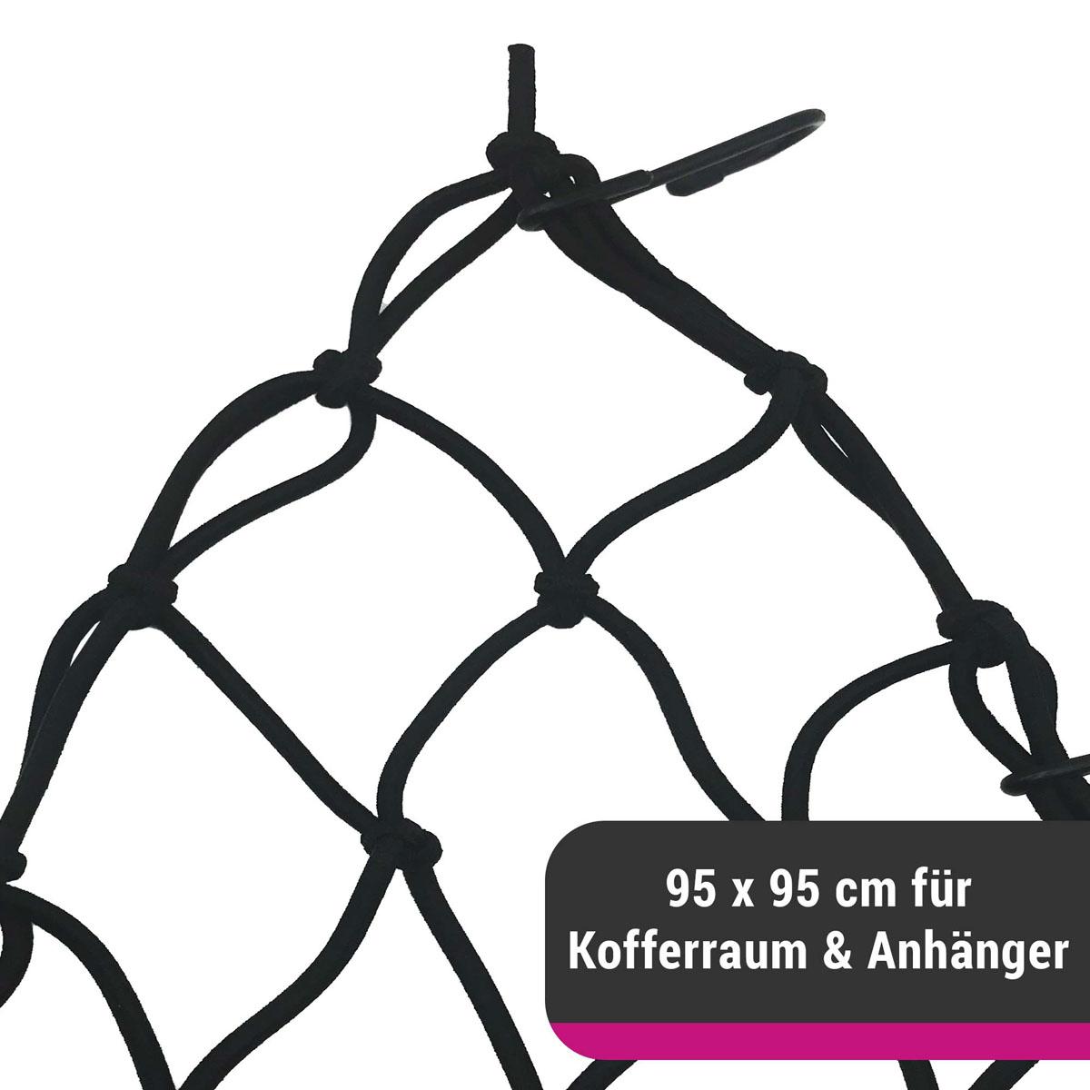 D&W elastisches Gepäcknetz für Kofferraum oder Anhänger 95 x 95 cm