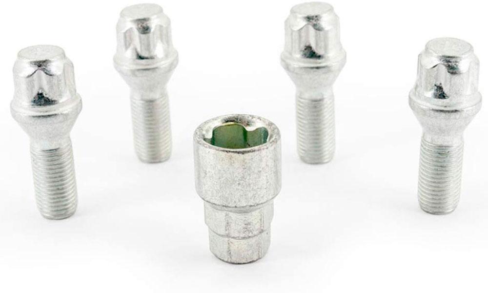 H&R Felgenschloss-Set Kegelbundschrauben 60° M14x1,5x28 SW17+19 silber