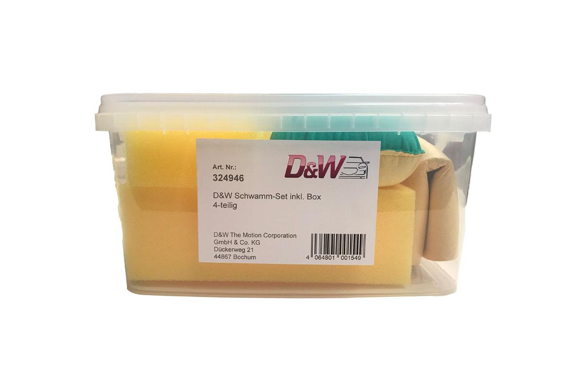 D&W Autoschwamm-Set inkl. Box 4-teilig