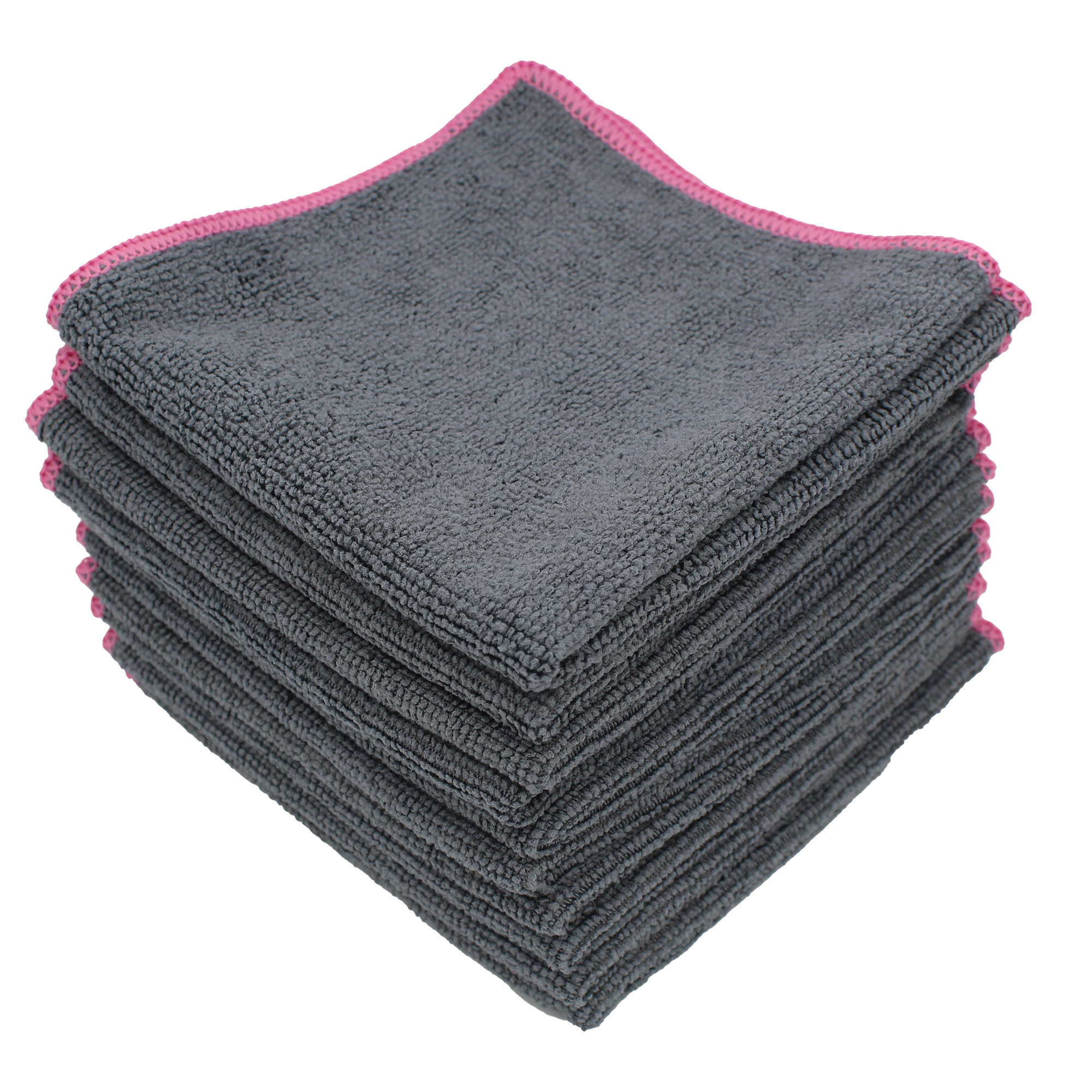 D&W Microfaser Tuch 30x30cm grau/pink 220g/m² 10 Stück