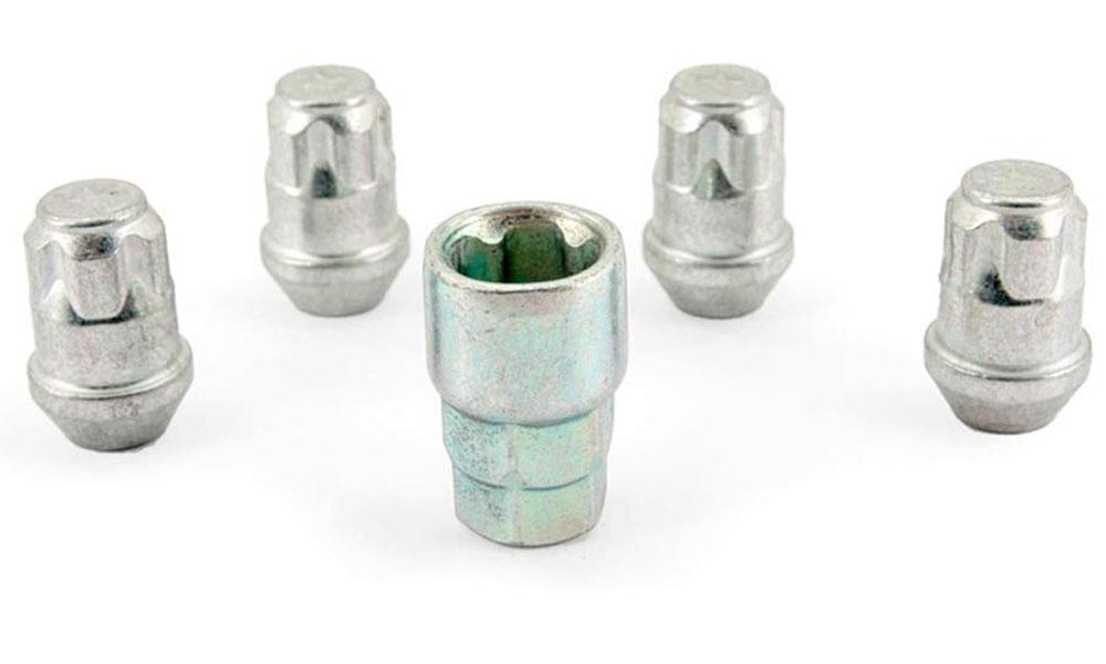 H&R Felgenschloss-Set Kegelbundmuttern 60° M12x1,25 SW19+21 silber