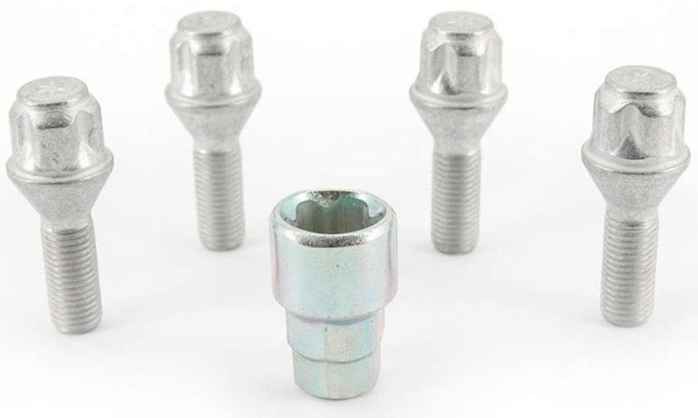 H&R Felgenschloss-Set Kegelbundschrauben 60° M12x1,5x28 SW17+19 silber